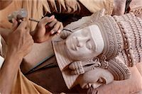 Sandstone and wood carving, Carving Association and Orphan Career Center, Siem Reap, Cambodia, Indochina, Southeast Asia, Asia Stock Photo - Premium Rights-Managednull, Code: 841-03489968