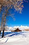 Barn in Winter, Grand Teton Mountain National Park, Wyoming, USA Stock Photo - Premium Rights-Managed, Artist: F. Lukasseck, Code: 700-03501247