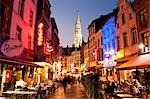Outdoor Cafes and Restaurants at Dusk, Brussels, Belgium