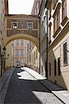 Empty street scene, decorative arch, Little Quarter, Old Town, Prague, Czech Republic, Europe Stock Photo - Premium Rights-Managed, Artist: Robert Harding Images, Code: 841-03502550