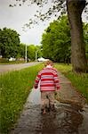 Boy Walking through Puddles, Stratford, Ontario Stock Photo - Premium Rights-Managed, Artist: Derek Shapton, Code: 700-03502762