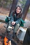Woman Roasting Marshmallows over Campfire, Truckee, near Lake Tahoe, California, USA Stock Photo - Premium Rights-Managed, Artist: Ty Milford, Code: 700-03503047