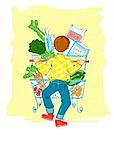 Illustration of Man Grocery Shopping Stock Photo - Premium Rights-Managed, Artist: Lisa Brdar, Code: 700-03503161