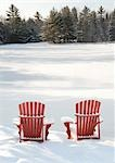 Adirondack Chairs in Snow Stock Photo - Premium Rights-Managed, Artist: Peter Christopher, Code: 700-03503162