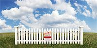 sold sign - White Picket Fence with Sold Sign in Open Field Stock Photo - Premium Rights-Managednull, Code: 700-03508132