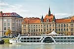 Cruise Ship on Danube River in front of Slovak National Museum, Bratislava, Slovakia Stock Photo - Premium Rights-Managed, Artist: Rudy Sulgan, Code: 700-03508200