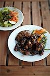 Organic Jerk Chicken, Steak and Roasted Vegetables with Salad Stock Photo - Premium Rights-Managed, Artist: Derek Shapton, Code: 700-03508565