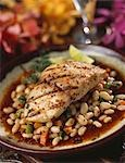 Grilled fish fillet on bean sauce Stock Photo - Premium Royalty-Free, Artist: F1Online, Code: 659-03520916