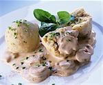 Bread dumplings with mushroom sauce Stock Photo - Premium Royalty-Free, Artist: Westend61, Code: 659-03522283