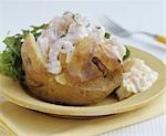 Baked potato with prawns and cottage cheese Stock Photo - Premium Royalty-Freenull, Code: 659-03522380