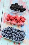 Blueberries, raspberries & blackberries in plastic punnets Stock Photo - Premium Royalty-Freenull, Code: 659-03522664
