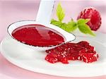 Raspberry sauce on plate and in ladle Stock Photo - Premium Royalty-Free, Artist: AWL Images, Code: 659-03522857