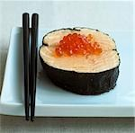 Salmon in nori leaf with salmon caviar Stock Photo - Premium Royalty-Free, Artist: Water Rights, Code: 659-03523912