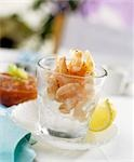 Prawns on crushed ice in glass, chilli sauce Stock Photo - Premium Royalty-Freenull, Code: 659-03523959