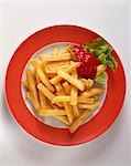A plate of chips with ketchup Stock Photo - Premium Royalty-Free, Artist: ableimages, Code: 659-03524233