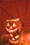 Pumpkin lanterns and cobweb (Halloween decorations) Stock Photo - Premium Royalty-Freenull, Code: 659-03524643