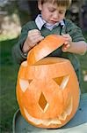 Small boy putting lid on pumpkin lantern Stock Photo - Premium Royalty-Freenull, Code: 659-03524993