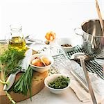 Still life with herbs, oil, onions and spices Stock Photo - Premium Royalty-Free, Artist: Aflo Relax, Code: 659-03527785