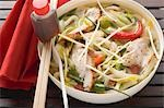 Spicy noodle soup with chicken, vegetables & soy sauce (Asia) Stock Photo - Premium Royalty-Free, Artist: I Dream Stock, Code: 659-03527935