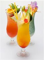 Three fruity long drinks Stock Photo - Premium Royalty-Freenull, Code: 659-03528481