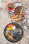 Vegetables on barbecue, meat, sausages, kebabs in dish Stock Photo - Premium Royalty-Free, Artist: Kevin Dodge, Code: 659-03529491