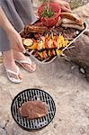 Woman serving grilled food in aluminium dish at barbecue by river Stock Photo - Premium Royalty-Free, Artist: Kevin Dodge, Code: 659-03529497