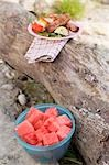 Plate of grilled food on tree trunk, bowl of diced watermelon Stock Photo - Premium Royalty-Free, Artist: Kevin Dodge, Code: 659-03529512
