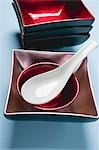 Assorted lacquer bowls with spoon (Asia) Stock Photo - Premium Royalty-Free, Artist: Cusp and Flirt, Code: 659-03529520