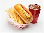 Hot dog with chips and cola Stock Photo - Premium Royalty-Free, Artist: foodanddrinkphotos, Code: 659-03531082