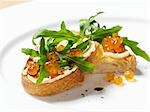 Salmon caviare and rocket open sandwich Stock Photo - Premium Royalty-Free, Artist: Science Faction, Code: 659-03532727