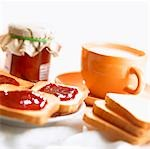 Toast and jam and a cup of milk Stock Photo - Premium Royalty-Free, Artist: foodanddrinkphotos, Code: 659-03532881
