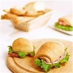 Bread rolls filled with pancetta and salami Stock Photo - Premium Royalty-Free, Artist: Narratives, Code: 659-03533047