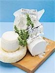 Various goat's cheeses on chopping board Stock Photo - Premium Royalty-Freenull, Code: 659-03533262