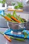 Fresh carrots and beans in a colander Stock Photo - Premium Royalty-Free, Artist: Aflo Relax, Code: 659-03533714
