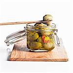 Green olives in preserving jar Stock Photo - Premium Royalty-Free, Artist: AWL Images, Code: 659-03533880