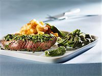 pimento - Steak coated in herbs with Pimientos de Padron Stock Photo - Premium Royalty-Freenull, Code: 659-03534025