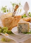 A piece of Gorgonzola & a piece of Parmesan with cheese knife Stock Photo - Premium Royalty-Freenull, Code: 659-03534253