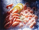 Prawns, peeled and unpeeled, on ice Stock Photo - Premium Royalty-Freenull, Code: 659-03534401