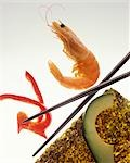 Sushi ingredients and chopsticks Stock Photo - Premium Royalty-Free, Artist: Westend61, Code: 659-03534723