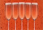 Several glasses of rosÈ sparkling wine Stock Photo - Premium Royalty-Freenull, Code: 659-03534895