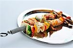 Grilled seafood and vegetable kebabs Stock Photo - Premium Royalty-Freenull, Code: 659-03535781