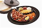 Prawn fajita with accompaniments and tortillas Stock Photo - Premium Royalty-Freenull, Code: 659-03536065