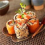 Lobster Sushi Rolls on a Plate; Chopsticks Stock Photo - Premium Royalty-Freenull, Code: 659-03536208