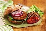 Tofu Burger on Raisin Bun with Grilled Portobello Mushroom and Roasted Red Pepper Stock Photo - Premium Royalty-Free, Artist: Westend61, Code: 659-03537178