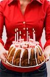 Woman holding iced ring cake with birthday candles Stock Photo - Premium Royalty-Free, Artist: Aflo Relax               , Code: 659-03537221