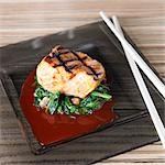 Grilled salmon fillet with greens, achiote and ponzu sauce Stock Photo - Premium Royalty-Free, Artist: ableimages, Code: 659-03537722