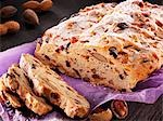 Christmas stollen, partly sliced Stock Photo - Premium Royalty-Free, Artist: foodanddrinkphotos, Code: 659-03537835