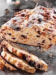 Christmas stollen, partly sliced Stock Photo - Premium Royalty-Free, Artist: Photocuisine, Code: 659-03537836