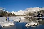 Mother & daughter cross-country skiing along  Mendenhall River Alaska Winter Tongass Nat Forest Stock Photo - Premium Rights-Managed, Artist: AlaskaStock, Code: 854-03537983