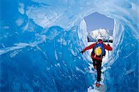 Male ice climber inside ice cave Mendenhall Glacier Tongass National Forest Southeast Alaska Spring Stock Photo - Premium Rights-Managednull, Code: 854-03538058